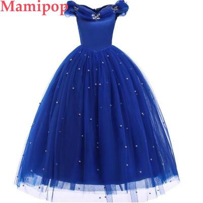 Girls Princess Cinderella Costume Dress Beaded Neck Party Ball Gown Outfits