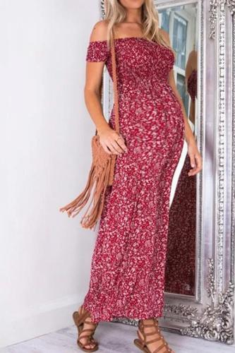 Maternity Off Shoulder Floral Print Split Maxi Dress