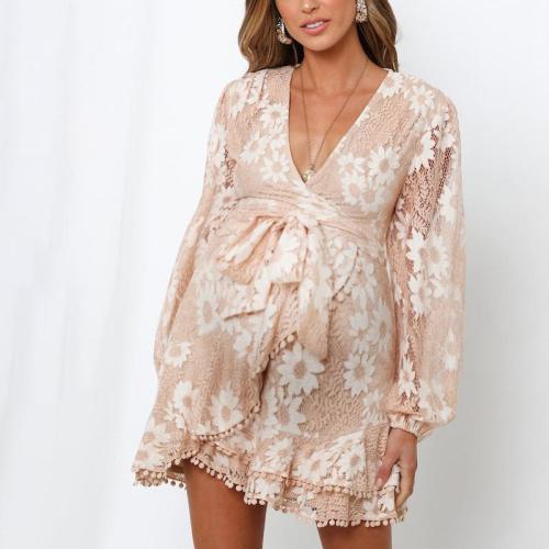Maternity Floral V-neck Lace Dress