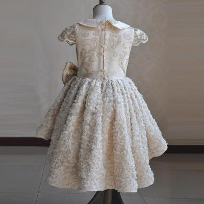 Autumn and winter gold thread embroidery children's wedding dress