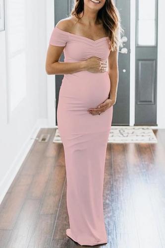 Maternity Solid Pink Off Shoulder Short Sleeve Dress
