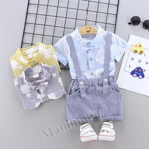 Children's clothing summer new cartoon bear shirt with pants  two-piece set