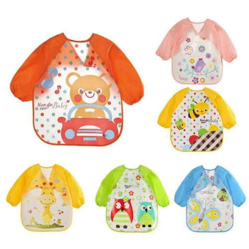 Baby Bibs&Burp Clothes EVA Bib Waterproof Long Sleeve Cartoon Kids Drawing Smock Feeding Accessories
