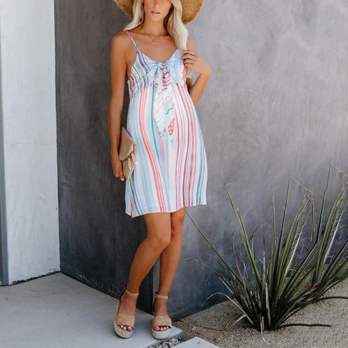 Maternity Casual Striped Mini Dress