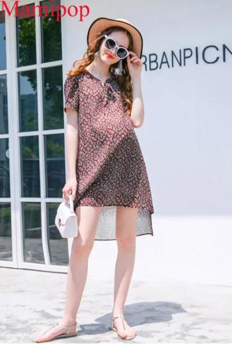 Summer Pregnant Dress Short-sleeved Chiffon Dress