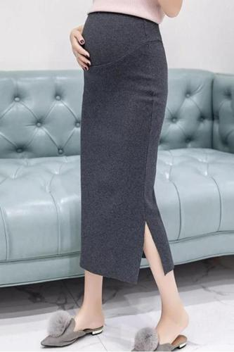 Maternity knit side slit solid colour long skirt