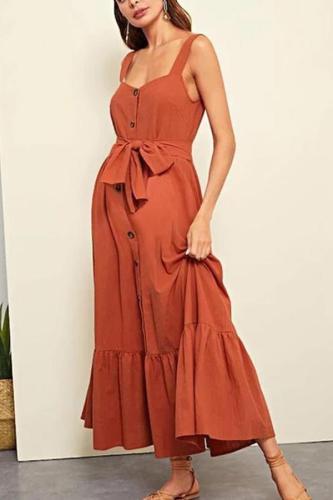 Maternity Plain Spaghetti Strap Tie Casual Dress