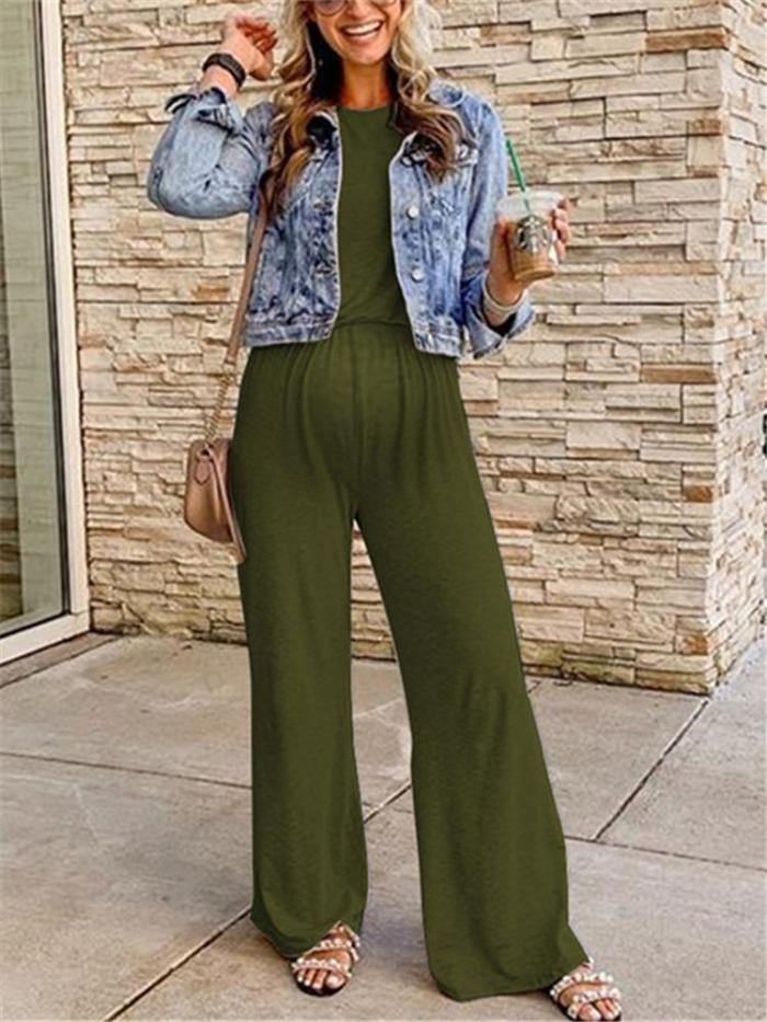 Maternity Casual Solid Color Sleeveless Loose Jumpsuit