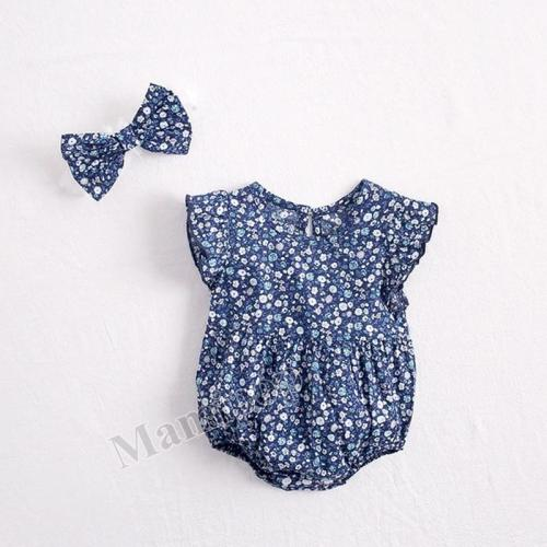 Summer New Baby Girl Broken Flowers Flying Sleeves  Cotton Climbing Clothes with Hair Band