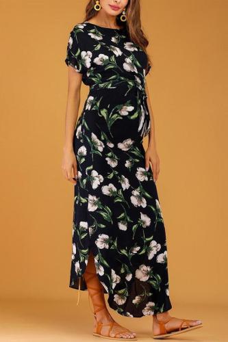 Maternity Casual Print O-Neck Maxi Dress