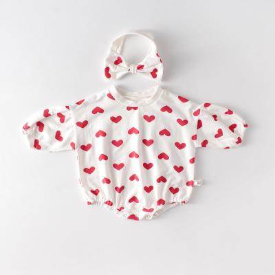 Baby Girl Love Pattern Cotton Romper