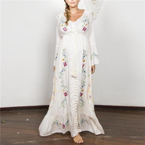 Elegant V-neck Long Sleeve Print Dress