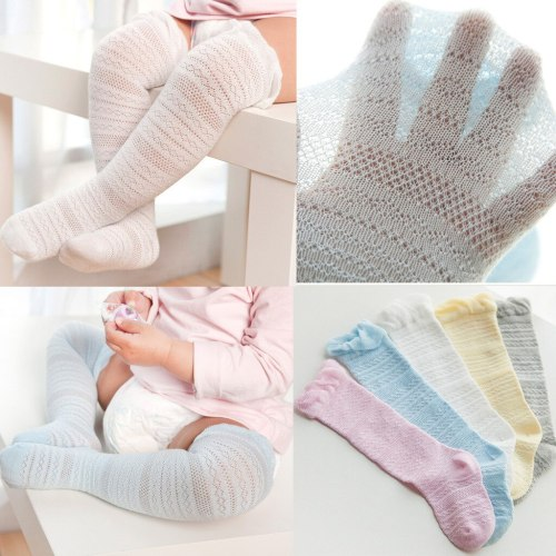 Newborn Children's Baby Boys Girls Solid Lace Knee High Antislip Princess Stockings Socks