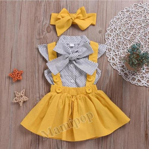 2020 Children's Spring/Summer Girls Short Sleeve Strap Skirt Set