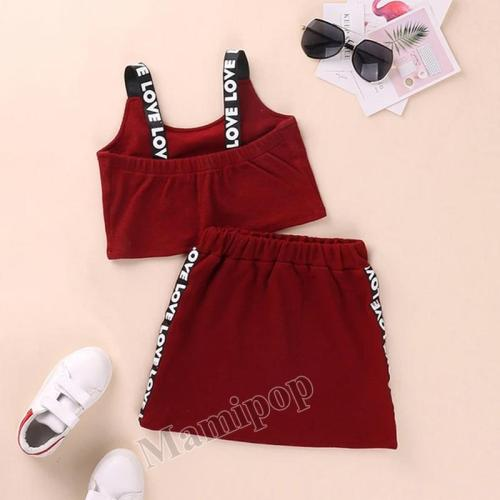 2020 girls' summer suit skirt children's sports letter vest two piece set