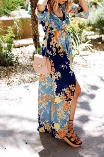 Maternity Fashion Seaside Holiday Print Dress