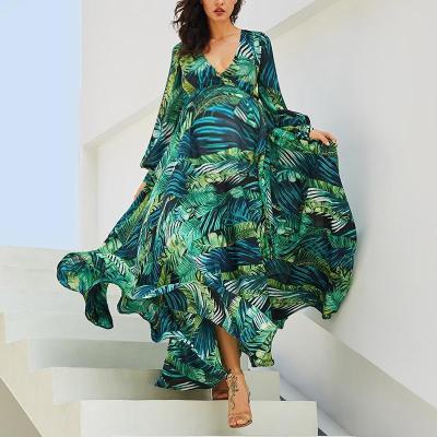 Maternity Bohemian Lantern Sleeve Green Leaf Print Dress