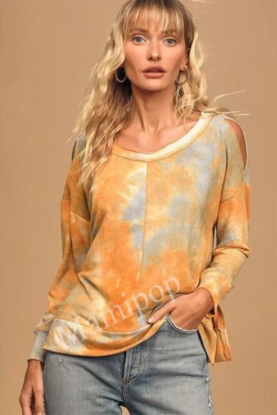Autumn and Winter Women's Wear Shoulder Tie-up, Long-sleeved Top Coat
