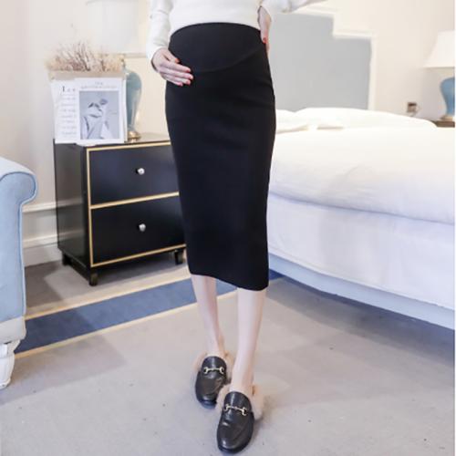 Casual pure colour slit Skirt