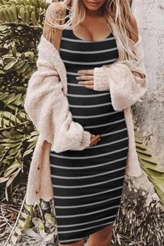 Maternity Round Neck Sleeveless Striped  Vest Dress