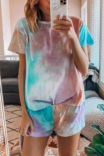 Maternity Short Sleeve Tie Dye Two Piece Set