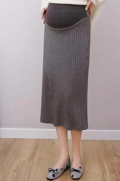 Maternity knit solid colour back slit midi skirt