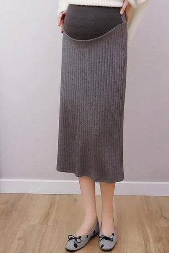 Maternity knit solid colour back slit midi skirt