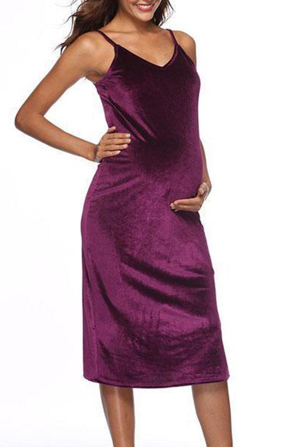 Maternity V-Neck Solid Color Cami Dress