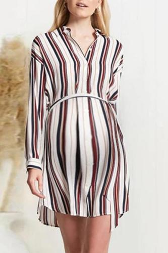 Maternity Casual Lapel Single Breasted Belt Shirt Striped Dress
