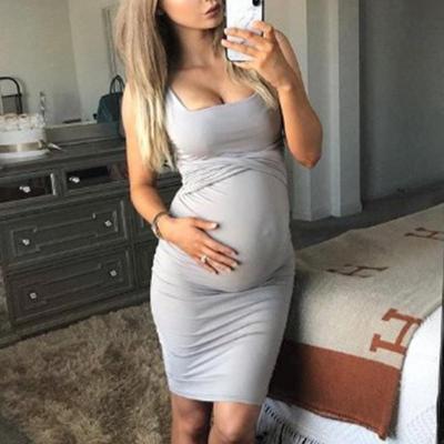 Maternity Solid Color Sheath Midi Dress