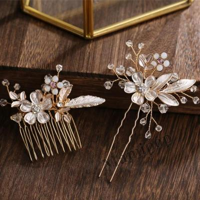 2 Pcs Women Hairpins Golden Leaf Flower Wedding Hair Accessories