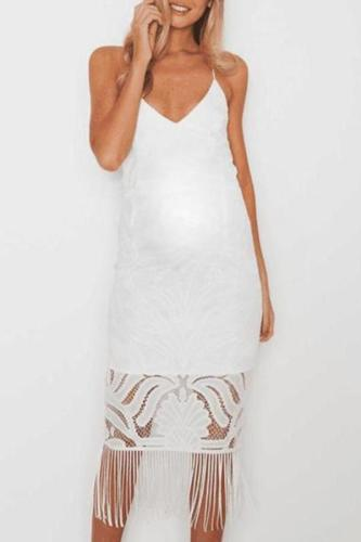 Maternity Lace Solid Color Cami Dress