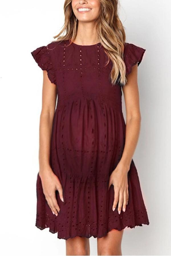 Maternity Casual Round Neck Short Sleeve Plain Ruched Hole Dress