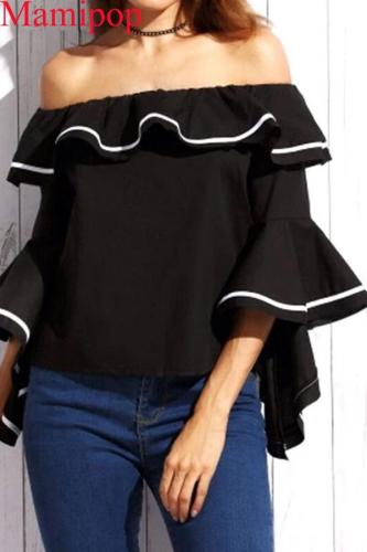 Maternity Blouses Shirts Sexy Slash Neck Off-the-Shoulder Tops