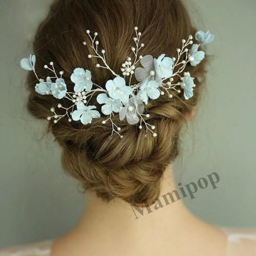Trendy Blue Flower Wedding Hair Jewelry Pearl Women Hair Ornaments