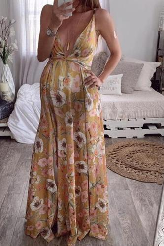 Maternity Open Back Printed Sling Dress