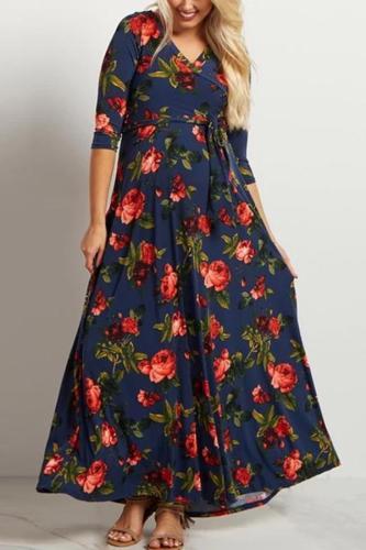 Maternity Fashion V Neck Printed Colour Dress