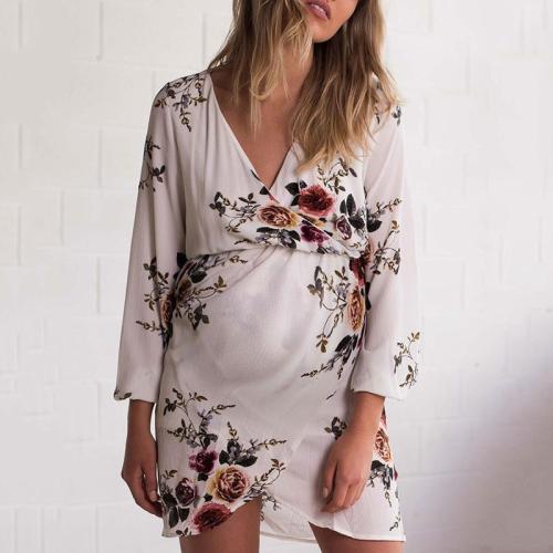 Maternity V Neck Printed Color Long Sleeve Dress