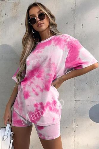 Tie Dye Print Basic T-shirt Shorts Two Piece Set Women Casual Outfits