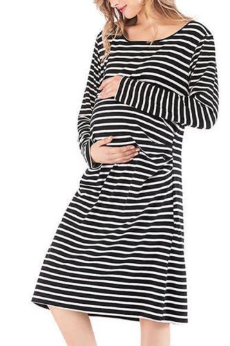 New Stripe Loose Comfort Cotton Modal Maternity Dress