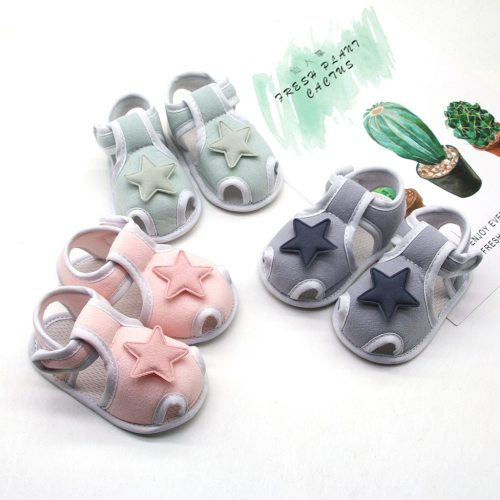 0-18m Infant Newborn Baby Girls Boys Prewalker Printing Stars Applique Single Shoes Cotton First Walkers