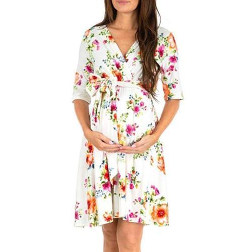 Maternity V-Neck Half Sleeve Dress
