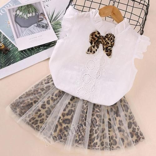 Girls set 2020 Summer Children's Wear Short Sleeve Gauze Skirt Two-piece Set