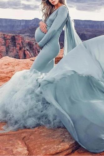 Pregnant woman dress long skirt