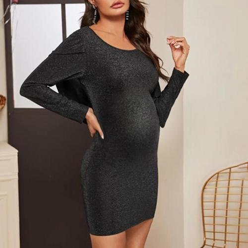 Maternity solid color long sleeve dress