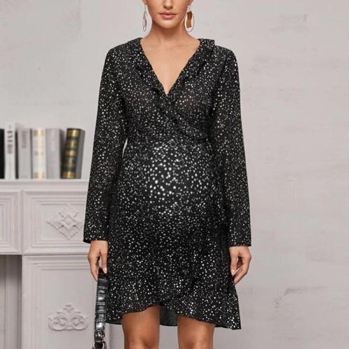 Maternity Fashion V-neck Polka Dot Dress