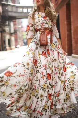 Maternity Sweet Round Neck Flower Print Half Sleeves Large Dress