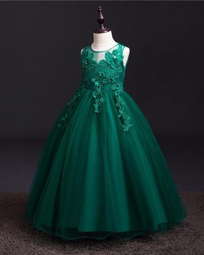 Solid Color Lace Mop Evening Dress