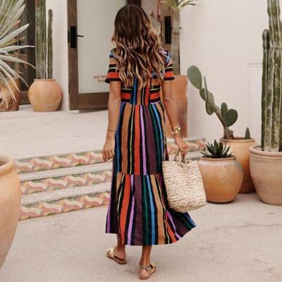 Maternity Short Sleeved Rainbow Striped Print Dress