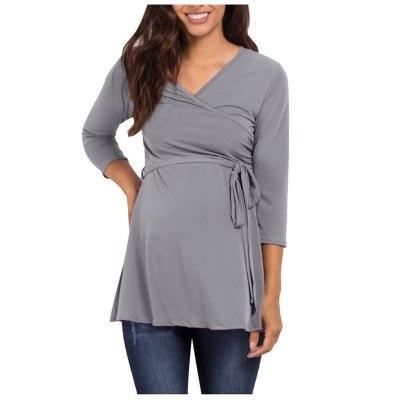 Maternity V-Neck Long Sleeve Frenulum Solid Blouse Tops